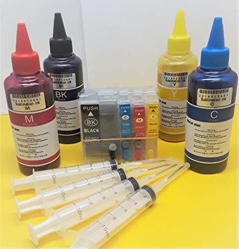 Sublimation Refillable WF-7710 WF-7720 3620 3640 7110 WF-7210 WF-7220 7610 7620 ARC Auto Reset Chip 4 x 100ml Bottles 4 Syringes Printer