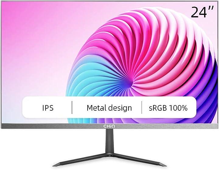 Monitor pc, schermo pc led ips da 24 pollici,full hd1920 x 1080,5 ms,totale immersione con bordi ultra sottili 24P625F