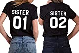 Queque Shine Camiseta Best Friend T-Shirt 2 Piezas Impresión Sister 01 02 Camisa Hermana Manga Corta para Mujer (Negro+Negro, 01S+02S)