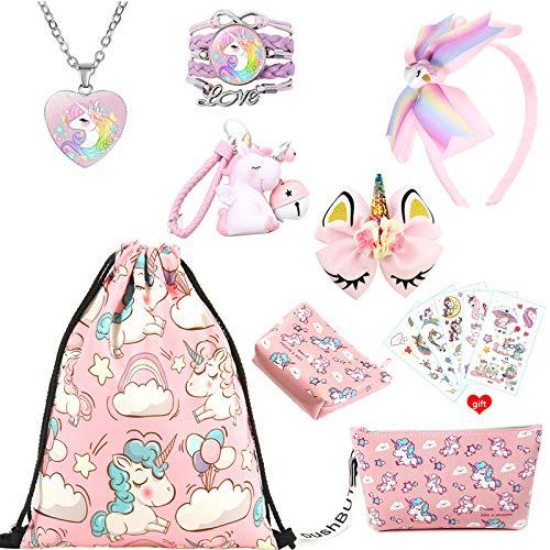 Einhorn Geschenke für Mädchen, rosa Kordelzug Geldbörse Make-up Tasche Halskette Armband Haarschmuck Taschenanhänger und temporäre Tattoos