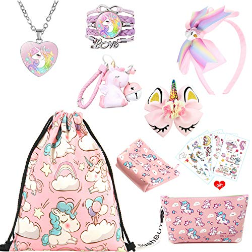 ZCOINS Unicorn Gifts for Girls, Pink Drawstring Bag Coin Purse Makeup Bag Necklace Bracelet Hair Accessories Bag Charms and Temporary Tattoos