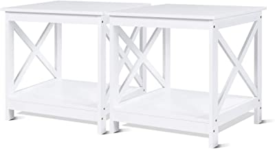 Amazon Com 2 Black Metal Nightstands Glass End Tables