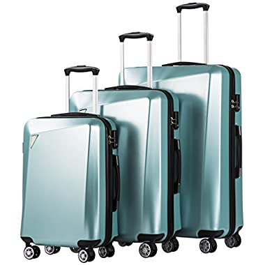 Coolife Luggage 3 Piece Sets PC+ABS Spinner Suitcase 20 inch 24 inch 28 inch (Ice blue)