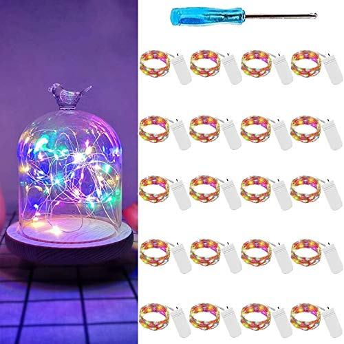 Led Fairy Lights Battery Operated 20 Pack 20 Micro LED Mini Waterproof Fairy String Lights Silver Wire String Lights Xmas Lights with Screwdriver for Centerpiece Wedding Party Decoration (Cool White)