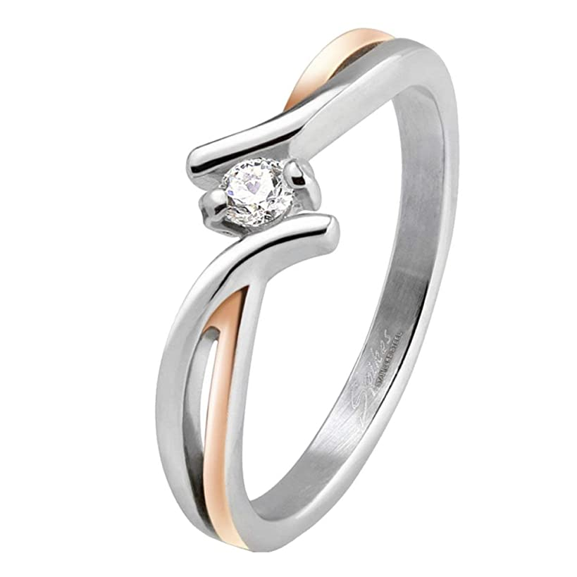 Fantasy Forge Jewelry Womens Cubic Zirconia Anniversary Ring Rose Gold Stainless Steel Wedding Band