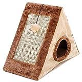 Milesaki Hundehütte, dreieckiges Zelt für Katzen, 4 Jahreszeiten, universal, halb-geschlossen, Sisal