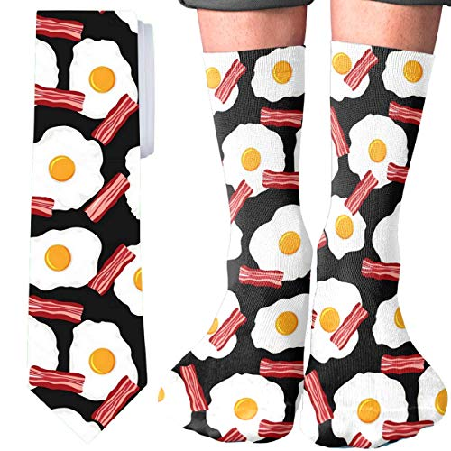 Gift Sets For Men Necktie and Socks Sets 2 PCS Men Fashion Classic Neck Tie (Breakfast Eggs and Bacon)