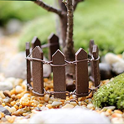 GUOYIHUA Garden Picket Fence Panels, Lattice Wooden Fence Mini Signs Fairy Dollhouse Garden