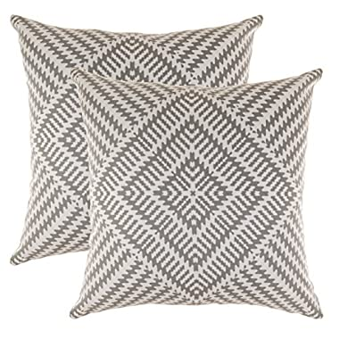 TreeWool, (2 Pack) Throw Pillow Covers Kaleidoscope Accent Decorative Pillowcases Toss Pillow Cushion Shams Slips Covers for Sofa Couch (18 x 18 Inches / 45 x 45 cm; Sleet Grey), White Background