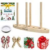 Bow Maker for Ribbon Wreaths,3-in-1 Multipurpose Round Wooden Bow Making Tool with Bowdabra Bow Wire for Ribbon Crafts DIY Decoration for Halloween Christmas,9.3 X 6.1 X 0.7 inches