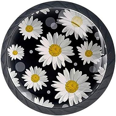 Motif de Fleurs de Marguerite Blanche Noir Boutons D'armoire 4 Pcs Poignés Poignée De Champignons Boutons D'aluminium