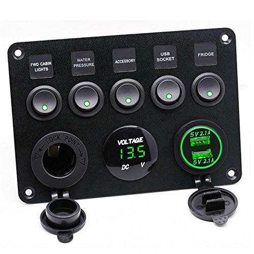 LICHONGUI 5 Gang Coche Marine Boat LED Rocker Interruptor Panel Impermeable Voltímetro Digital Voltímetro Dual Puerto USB Puerto 12V Outlet para E46 A4 (Color : Green Switch Panel 1)