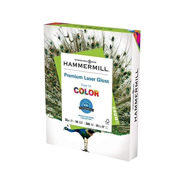 Hammermill Premium Laser Gloss Paper 32lb Copy Paper, Total Sheets, Made in USA,...