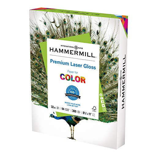 Hammermill Glossy Paper, Laser Gloss Copy Paper, 8.5 x 11 - 1 Pack (300 Sheets) - 94 Bright, Made in the USA Glossy Printer Paper