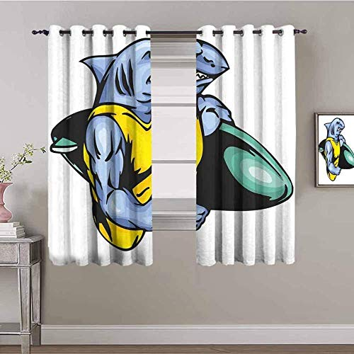 ZLYYH Thermal Curtains Cartoon surf shark animal W66 xL72 Blackout Curtains for Bedroom, Pinch Pleated 95% Blackout Curtains with Liner, Thermal Insulated Curtains Living Room, Set of 2 Panels