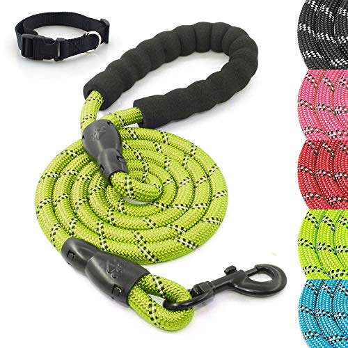 Herculeash 5/6FT Dog Leash and Collar Set with Comfortable Padded Handle- Heavy Duty Highly Reflective Threads Rope Pet Leash for Dogs up to 110lbs- 5ft, Green