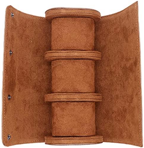 ZYW Estuche de viaje multifuncional para relojes de piel, organizador de rollo de reloj, 3 compartimentos, color marrón