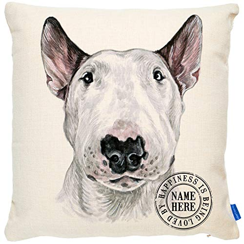 KRAFTYGIFTS Personalised ENGLISH BULL TERRIER Dog Cushion Portrait Artwork Pet Lover Sofa Pillow Cover KDC18