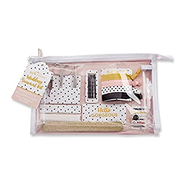 Kate Aspen Classic Wedding Survival Kit, Bridal Shower Gift Set with Cosmetic Bag, Polka Dot