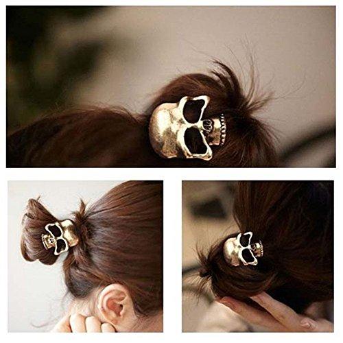 Naisicantar - Cinta para el pelo con diseño de calavera en 3D, color bronce