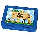 printplanet Brotdose mit Namen Papa - Motiv Zoo, Lunchbox mit Namen, Brotdose Blau - Frühstücksdose Kunststoff lebensmittelecht