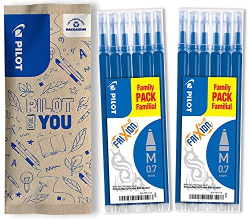Pilot - Lot de 2 sets de 6 Recharges FriXion Ball - Bleu - Pointe Moyenne