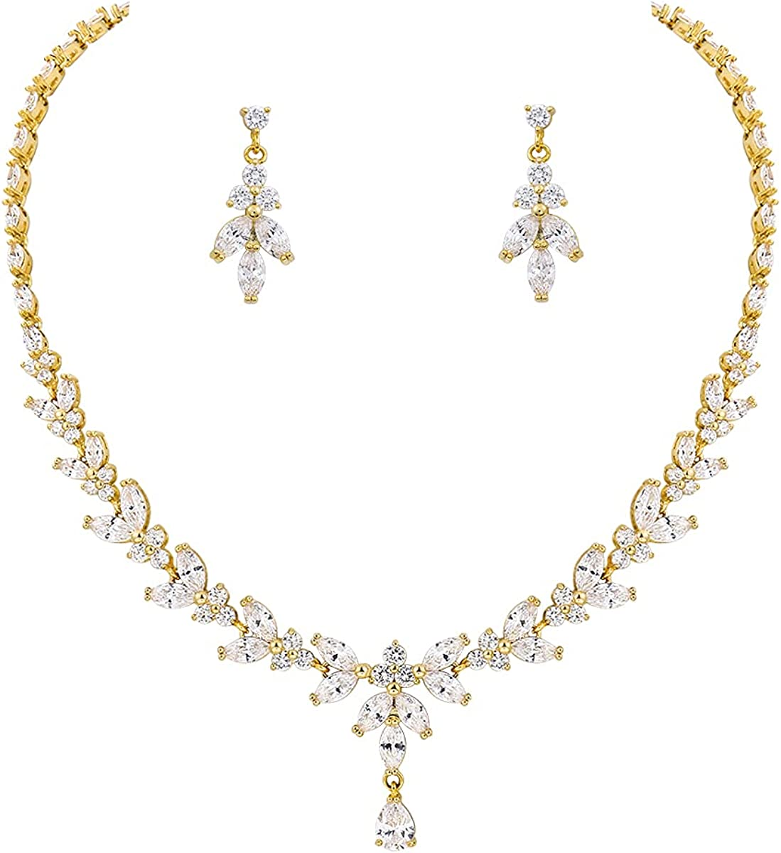 MEEDOZ Bridal Wedding Jewelry CZ Set Marquise Pear-Shaped Teardrop Cubic Zirconia Adjustable Pendant Necklace and Dangle Earring Sets for Women Girls