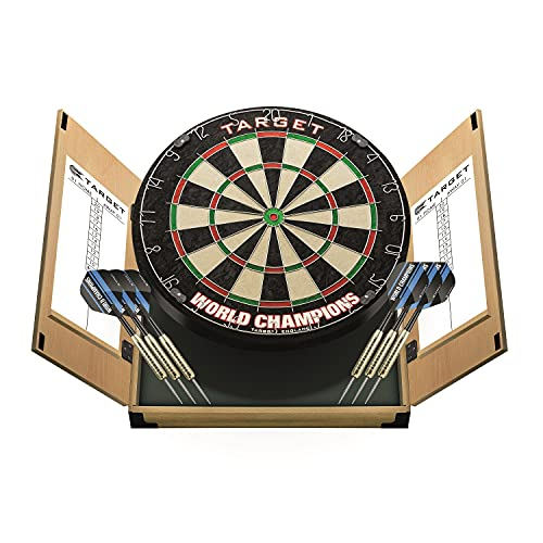 Target Darts Home Darts Cabinet Set - World Champions Dartboard with 2 Sets...