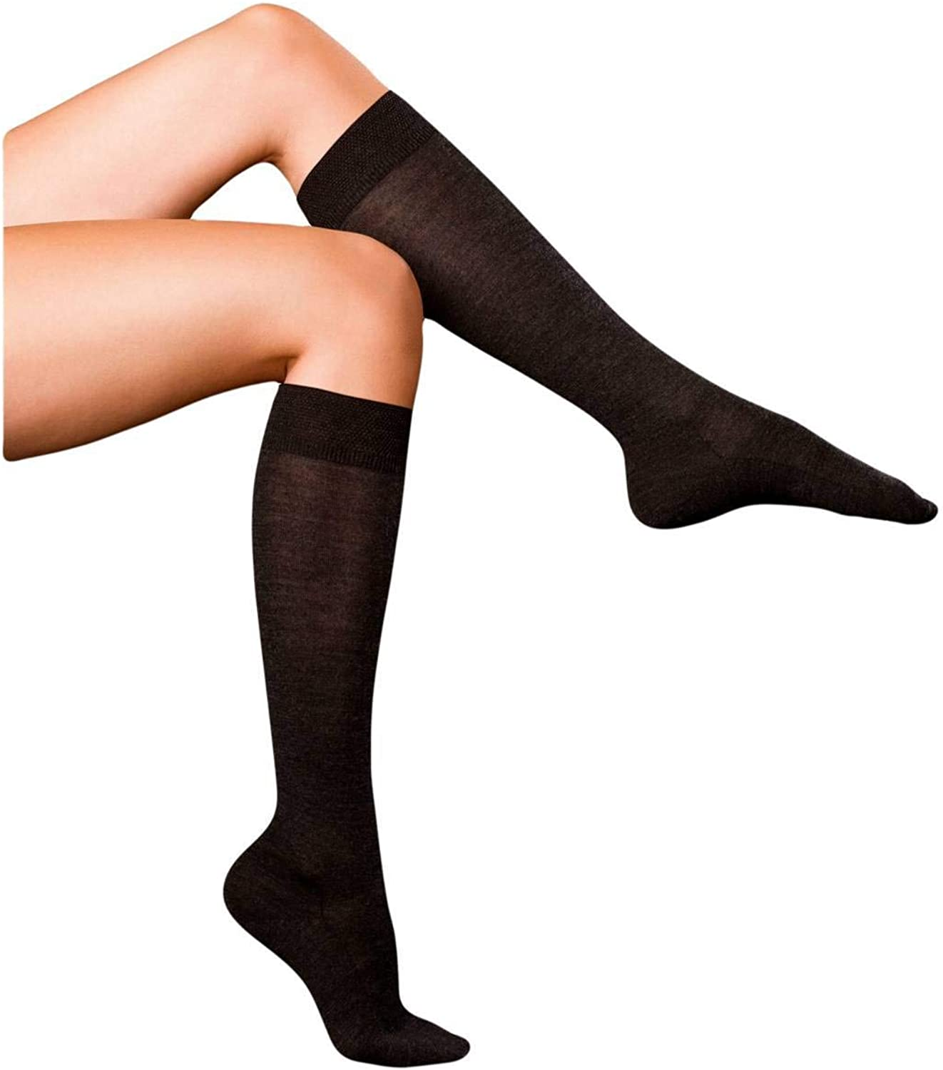 Falke Womens Finest No3 Merino and Silk Knee High Socks  Anthracite Melange