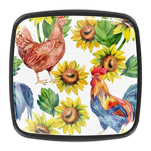 Aquarell Henne und Hahn mit Sonnenblumen Kristallglas Knöpfe Kommode Schubladenschrank Griffe für Küchenschrank Schrank Badezimmerschrank 4 Stk