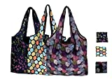 Elios Designer Pattern Reusable and Foldable Shopping Bag/Tote Hand Bag/Travel Bag/Grocery Bag | Heavy Duty, Eco Friendly | Compact, Lightweight and Convenient (Pack of 3 (A))