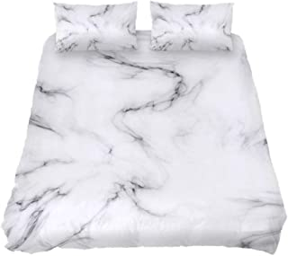 CIXUAN Bedding Duvet Cover Set Extra Long Twin with Zipper Closure, Marble Stone White Pattern Durable Comforter Quilt Cover Sets for Teens