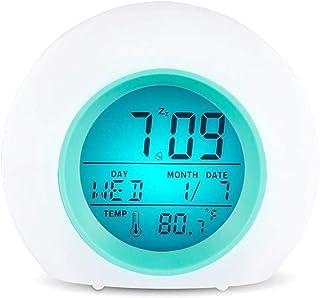 Wake Up Light Digital Alarm Clock LED Bedside Lamp Touch Control Night Light Sunrise Sunset Simulation RGB Colors Change A...