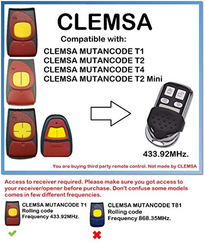 CLEMSA MUTANCODE T1, T2, T4 - Mando a distancia compatible con código 433,92 MHz