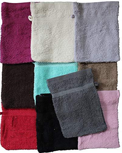 KH-Haushaltshandel Waschhandschuh Frottee, 10 Stück (5x2versch.Farben Sortiert), ca. 16x21cm, 100% Baumwolle, Uni, einfarbig, Walk Frottier, Waschlappen