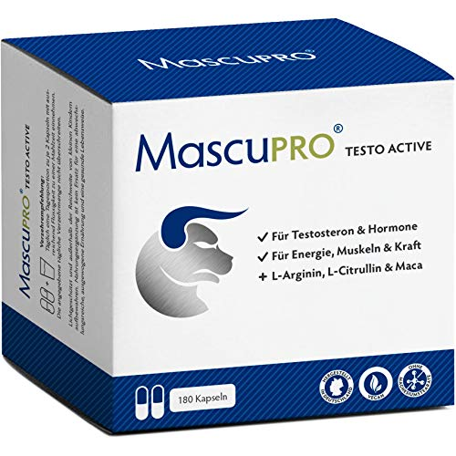 MascuPRO Testo Active Männer - Muskel, Kraft, Ausdauer - 180 Testosteron Kapseln - Aminosäuren, Pinienrindenextrakt, Maca Mann, Ginseng