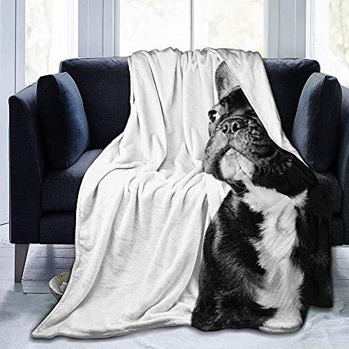 Blanket Negro Bulldog Francés Blanco - Manta De Tiro Ultra Suave Manta De Vellón Cálido Todas Las Estaciones Camping Mullido Ligero Al Aire Libre Interior 102X127Cm