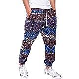 lexiart Mens Fashion Baggy Pants - Cotton Loose Harem Yoga Pants Blue