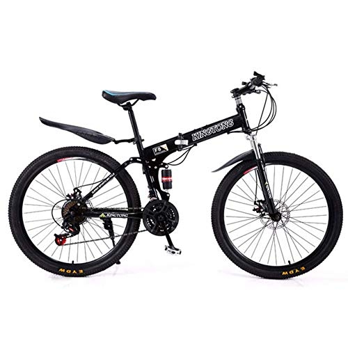 B-D Bicicletas Plegables Bicicleta De Montaña Plegable De 24/26 Pulgadas, Marco De Acero De Alto Carbono, Bicicleta Plegable Urbana Unisex De para Estudiantes, para Viaje Al Aire Libre,Negro,26inch