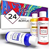 GenCrafts Acrylic Pouring Paint Set - 24 Classic Colors - Pre-Mixed High Flow and Ready to Pour - 2 oz./ 59 ml Bottles - Vibrant Paints for Canvas, Glass, Rocks, Wood, Tiles and More
