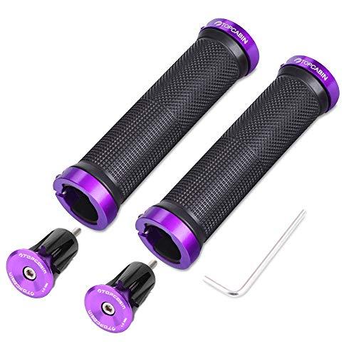 TOPCABIN Bike Grips Double Lock on Locking Bicycle Handlebar Grips Cycle Bicycle Mountain Bike BMX Floding ((Aluminum lock plug+Grips) Purple 1 Pair)