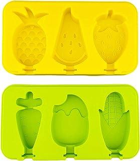 Kurrty Moldes para Helados y Polos, Forma de Fruta y Vegetales, 2 Unidades, Mini, Silicona