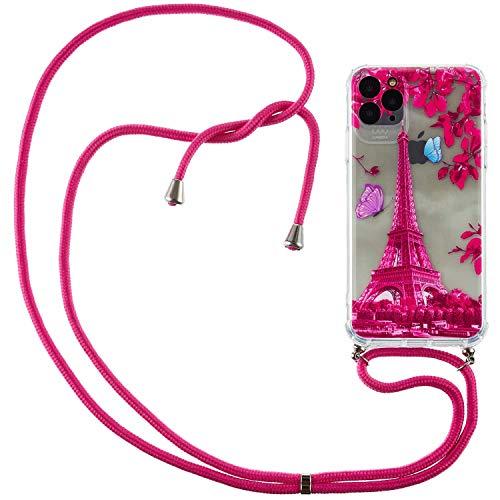 Nadoli Handykette Hülle für iPhone 12,Weich Handyhülle mit Kordel zum Umhängen Necklace Cover mit Band Schutzhülle Halsband Case mit Umhängeband,Rot Turm