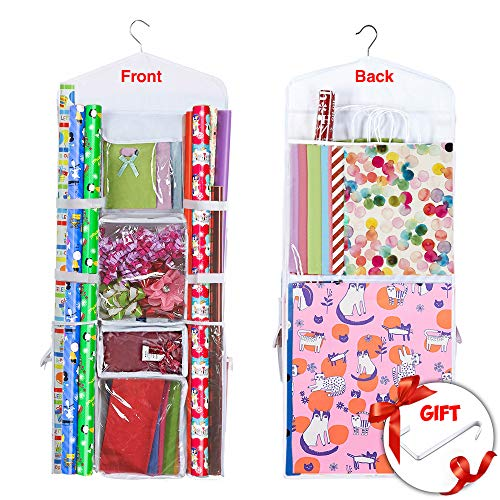 Hanging Gift Wrapping Paper Storage Organizer Bag, Double Sided Multiple Front & Back Pockets Organize Your Gift Wrap, Gift Bags Bows Ribbons 40'X17' Fits Long 40 Inch Rolls Clear PVC Bag (White)