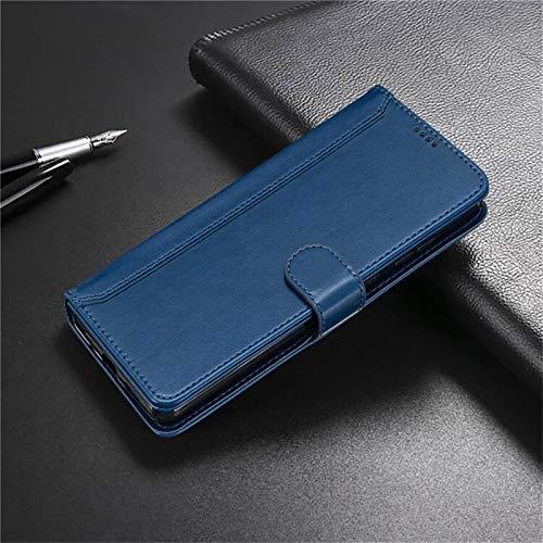 QiuKui Fundas para Xiaomi 10 Lite POCO M3 X3 NFC, cartera de lujo con ranura para tarjetas, funda de cuero para Redmi Note 8T 9S Pro Max 9 9A 8A (color: azul, material: para Mi POCO M3)