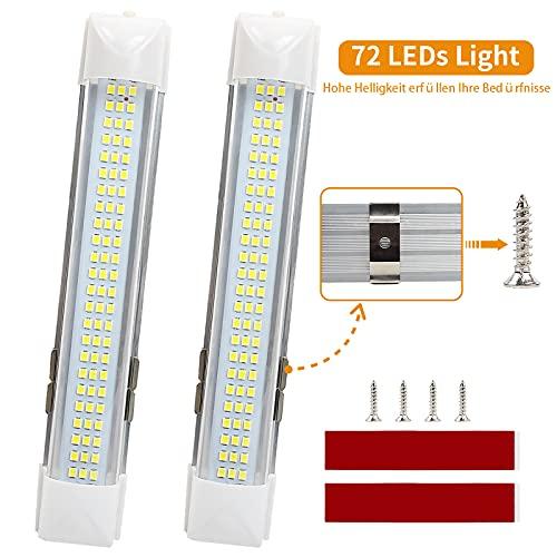 LED Innenbeleuchtung Auto, 72 LEDs Innenraumlampe, 12V Innenraumbeleutung mit Taster-Schalter, Natürliches weißes Licht Deckenbeleuchtung für Wohnmobil/Lieferwagen/Camper/Boot