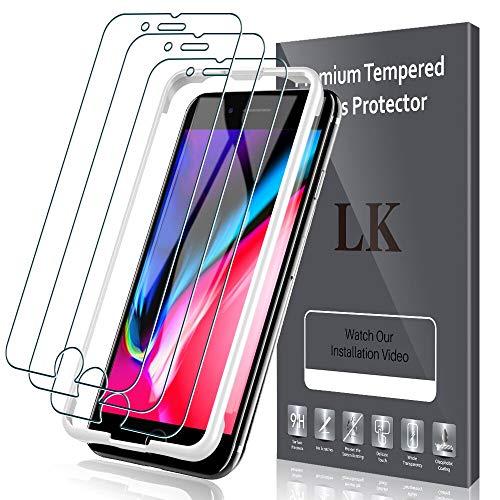 LK【3枚セット】iPhone8 Plus / iPhone7 Plus用 強化ガラス液晶保護フィルム 5.5インチ「業界最高硬度9H/高透過率/飛散防止/気泡防止/3Dタッチ対応」アイフォン7 プラス 8 プラス ガラスフィルム(ガイド枠付き)