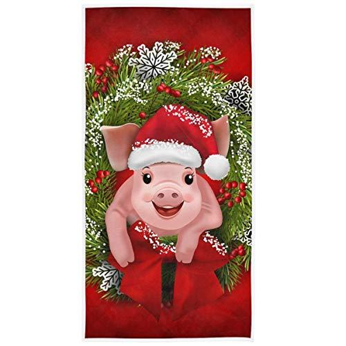 Navidad Abeto Ramas Corona Cerdo Toallas de Mano Navidad Invierno Animales Toalla de baño Toalla de baño Navidad Baño Cocina Decoración Regalos