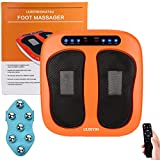 Feet Massager Electric Massager Legs Adjustable Vibration Speed Foot Rotating Foot and Leg Massager Platform with Rotating Acupressure Heads Multi Setting SPA with Heat Mode Remote Control (Orange)
