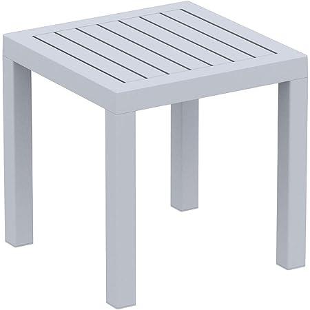 Amazon De Clp Beistelltisch Ocean I Wetterfester Gartentisch Aus Uv Bestandigem Kunststoff I Witterungsbestandiger Tisch Farbe Grau